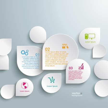 Infographic design white drops on the grey background. Eps 10 vector file. Vector