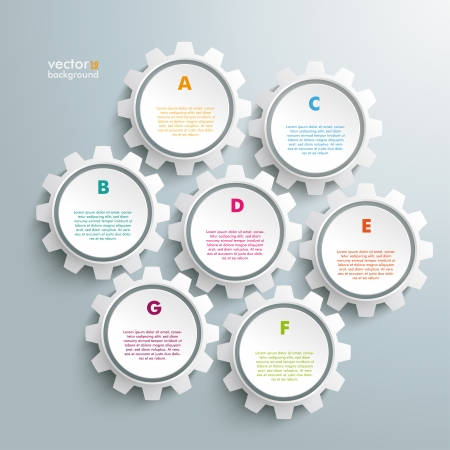 eps 10: Infographic design white gears on the grey background. Eps 10 vector file.