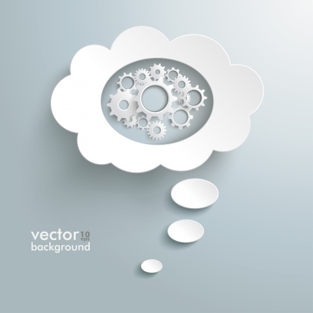 Infographic design white thought bubble on the grey background. Eps 10 vector file. Vector