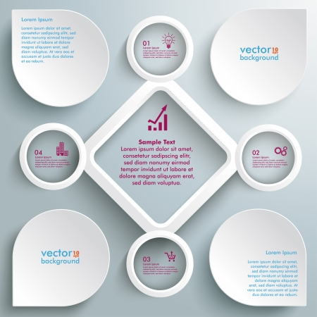 Infographic with white circles and rhombus on the grey background.  Illustration