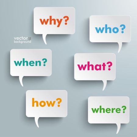Colorful questions speech paper bubbles with questions.  Vector