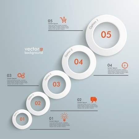 Infographic with white circles on the grey background. Vector