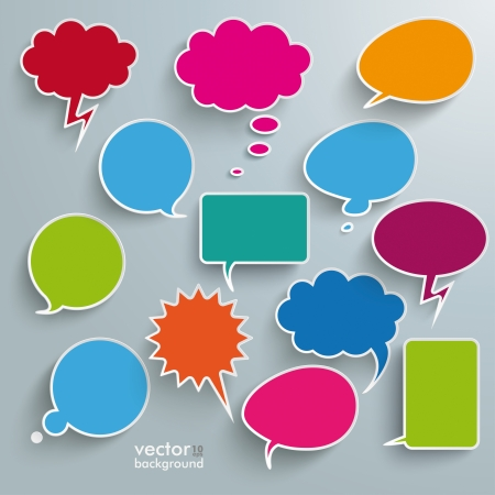 thinking icon: Infographic design with colored communication bubbles on the grey background.  Illustration