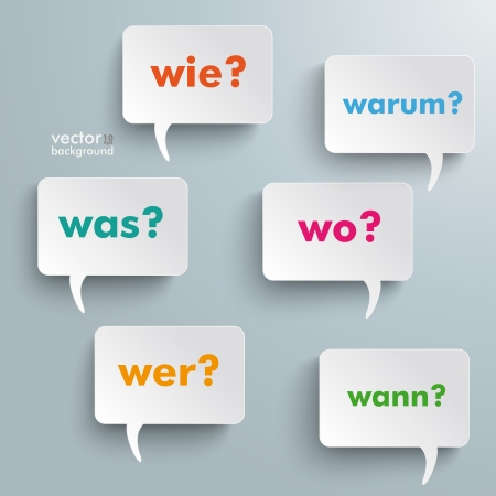 when: Colorful questions speech paper bubbles with numbers. German text warum, was, wo, wie, wann, wer translate why, what, where, how, when, who.  Illustration