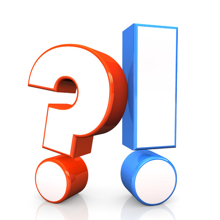 Red question mark with blue exclamation mark. White background. Stock Photo - 23485745