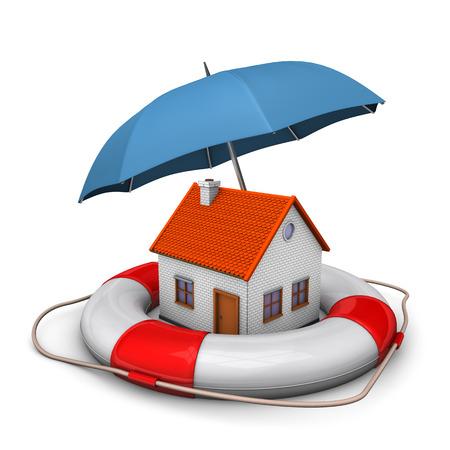 lifebelt: House with blue umbrella and lifebelt. White background.