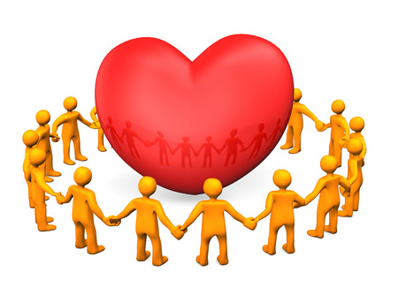 Orange cartoon characters with big red heart. White background. photo