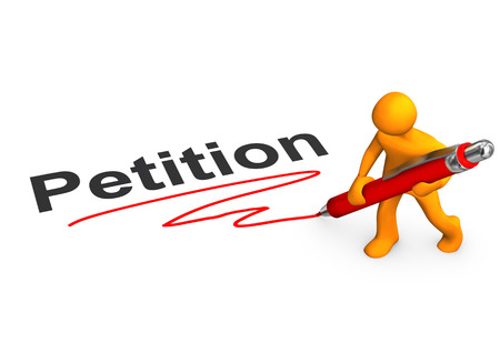 Orange cartoon character with ballpen and text Petition. photo