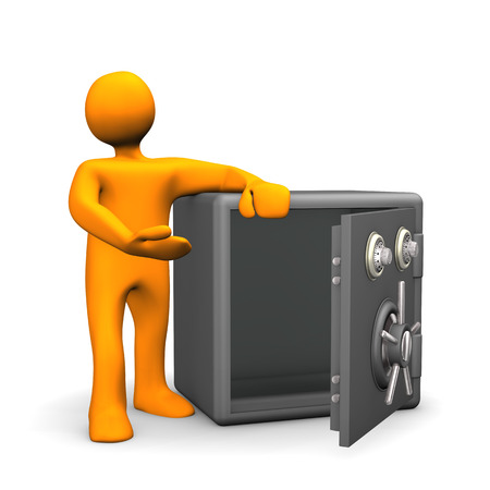 Orange cartoon character with opened and empty safe. White background. photo