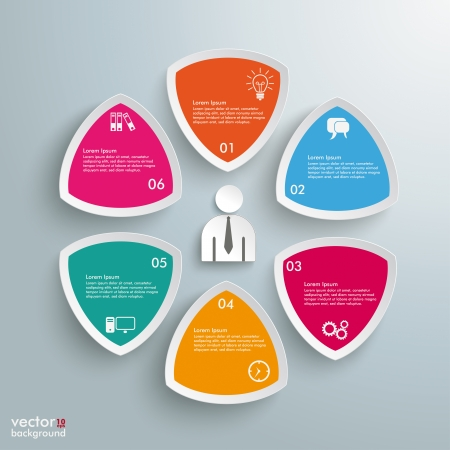 six objects: Infographic design on the grey background. Eps 10 vector file.