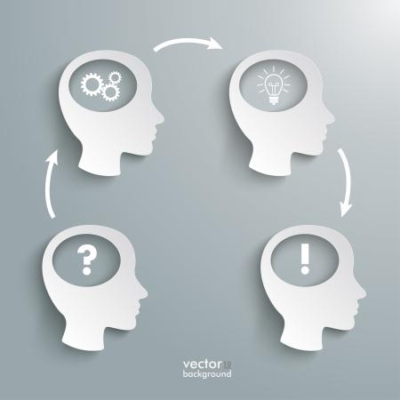 cerebros: Infograf�a con cuatro cabezas blancas en el fondo gris. Archivo EPS 10 vector.