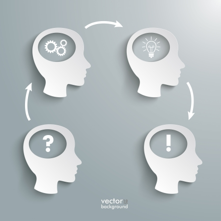 contemplating: Infographic with white four heads on the grey background. Eps 10 vector file. Illustration