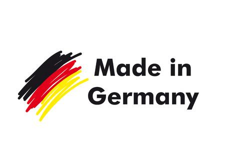 gemaakt: Made in Germany kwaliteitslabel op de witte achtergrond.