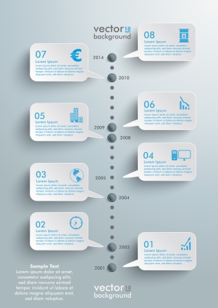 Timeline design with clouds on the grey background. Eps 10 vector file.