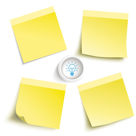 yellow note: Infographic with colored stickers on the grey background. Eps 10 vector file.