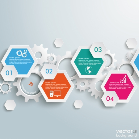 Infographic design with hexagons on the grey background. Eps 10 vector file. Vector