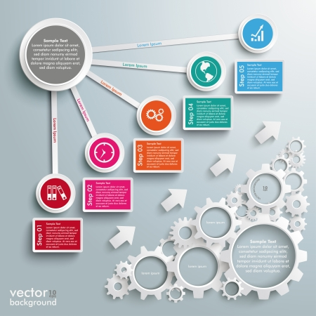 5 to 10: Infographic design white gears and colored circles on the grey background. Eps 10 vector file.