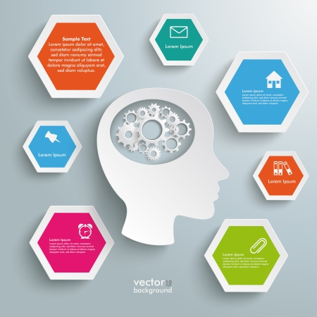 Infographic with white a head on the grey background. Eps 10 vector file. Stock Vector - 23827128