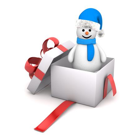 wrap wrapped: Snowman in the white gift carton. White background.