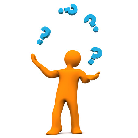 jugglery: Orange cartoon character juggles with blue question marks. White background.