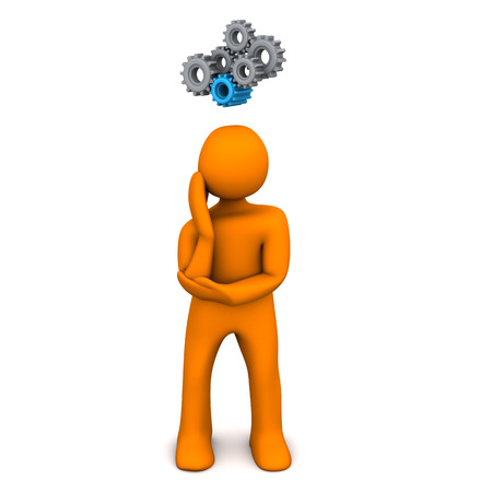 think tank: Orange cartoon character with gears on the white background.