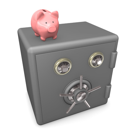 accountig: Pink piggybank on closed safe on the white background.