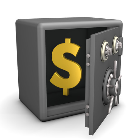 Openend safe with golden dollar symbol. White background.