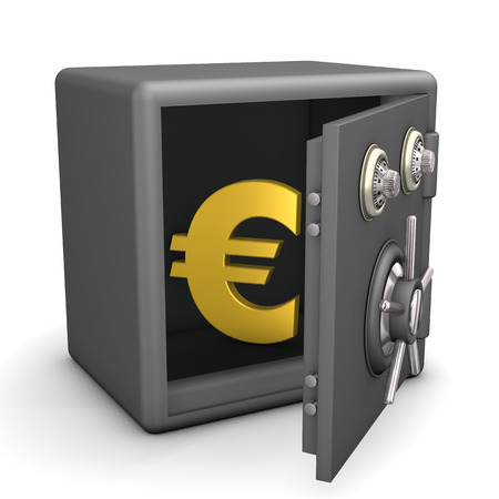 safe deposit box: Openend safe with golden euro symbol. White background.