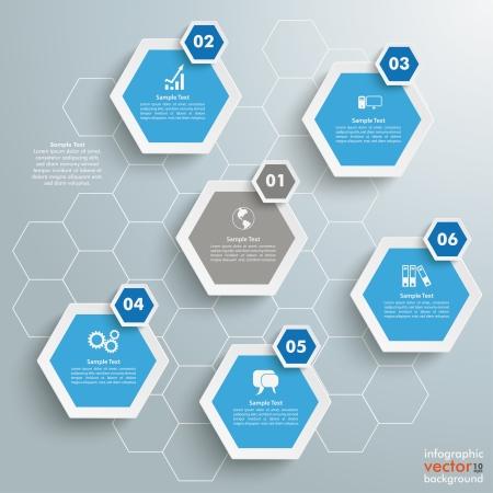 Infografica con struttura a nido d'ape su sfondo grigio. Eps 10 file vettoriale. Archivio Fotografico - 24123150