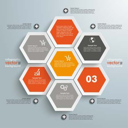 honeycomb: Infographic with honeycomb structure on the grey background. Eps 10 vector file.