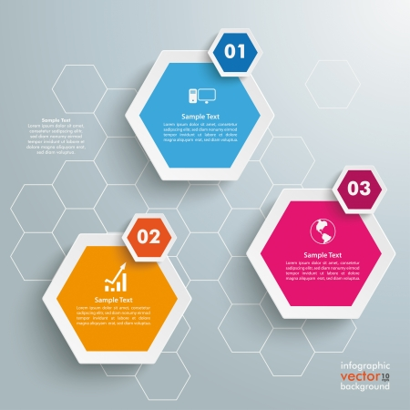 Infographic with honeycomb structure on the grey background. Eps 10 vector file.