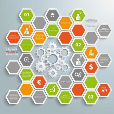 gear head: Infographic with honeycomb structure on the grey background. Eps 10 vector file.