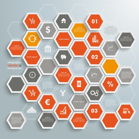 stock trader: Infographic with honeycomb structure on the grey background. Eps 10 vector file.