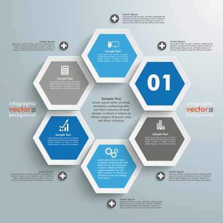 eps 10: Infographic with honeycomb structure on the grey background. Eps 10 vector file.
