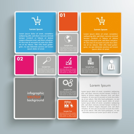 Colored rectangles on the grey background. Eps 10 vector file.