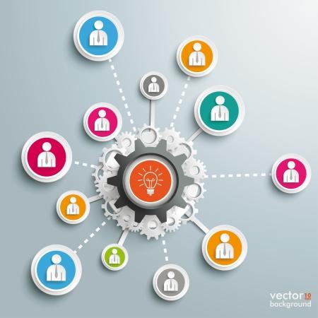 rete di computer: Disegno infografica sullo sfondo grigio. Vettoriali