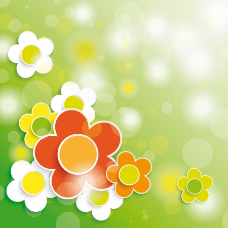 cartoon hare: Colored easter background with flowers.