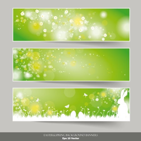 Infographic design with easter banners on the grey background.  Vector