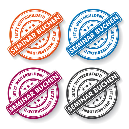 Colored paper labels. German text 'Seminar Buchen' and 'Jetzt Weiterbilden', translate 'Seminar Booking' and 'Improve Oneself Now'. Eps 10 vector file. Vector