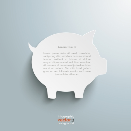 fonds: Big white piggy bank on the grey background. Illustration