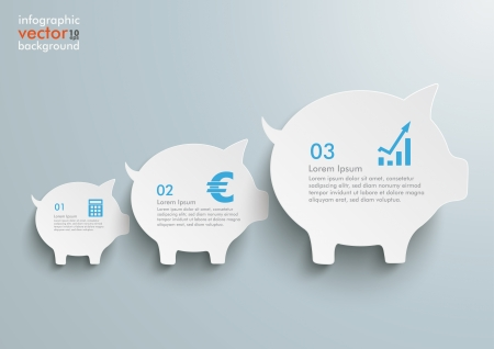 fonds: Piggy banks on the grey background.