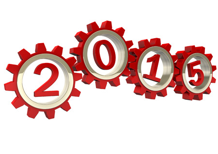 Red gears with red numbers 2015. White background. photo