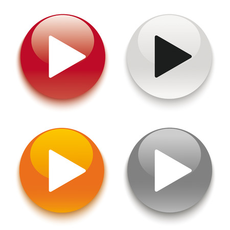 shiny buttons: 4 buttons on the white background.   Illustration