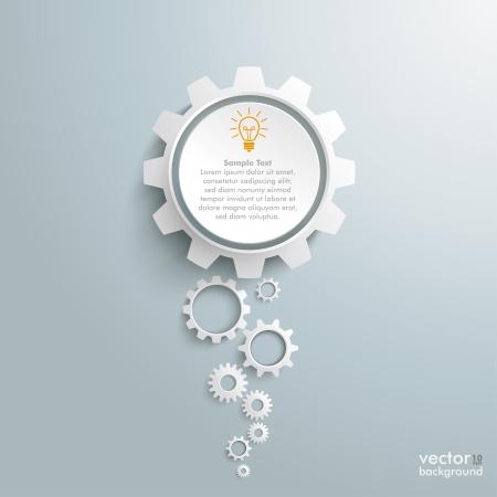 engrenages: Conception infographique sur le fond gris.