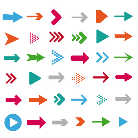 directional arrow: Colored arrows on the white background.