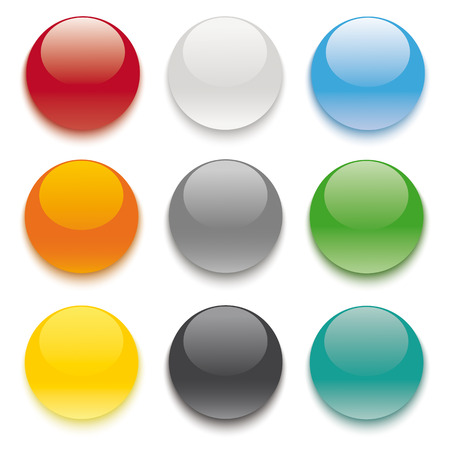 9 buttons on the white background.   Vector