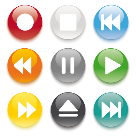 media player: 9 buttons on the white background.   Illustration