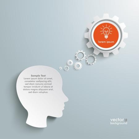 kavram ve fikirleri: Gri zemin üzerine beyaz bir kafa ile Infographic.
