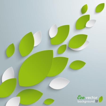White leaves on the grey background.  Illustration