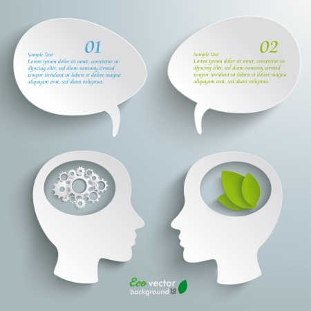 leaflets: Infographic with white heads on the grey background.  Illustration